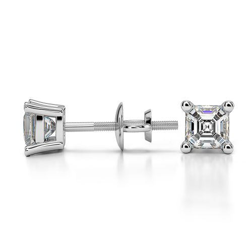 Asscher Diamond Stud Earrings in Platinum (1/2 ctw) | Image 03