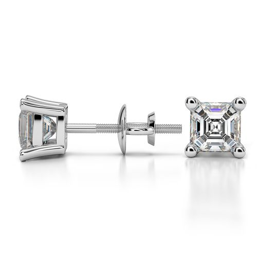 Asscher Diamond Stud Earrings in Platinum (1 ctw) | Image 03