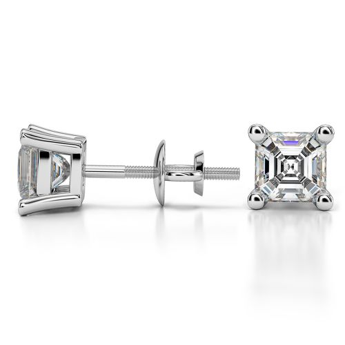 Asscher Diamond Stud Earrings in White Gold (1 1/2 ctw) | Image 03