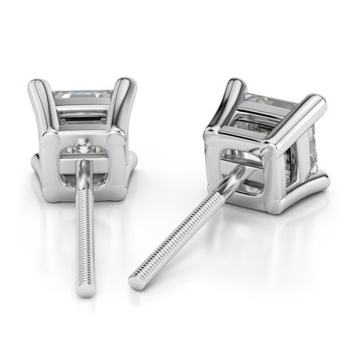 Asscher Diamond Stud Earrings in White Gold (1/4 ctw) | Image 02
