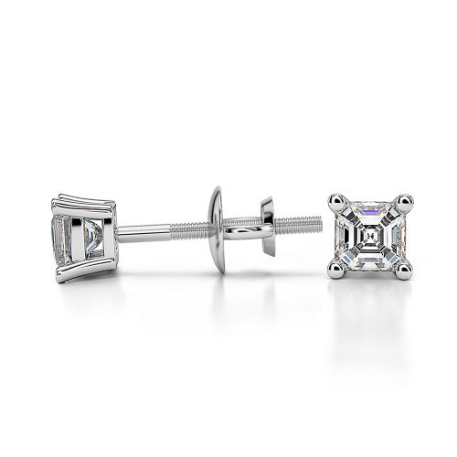 Asscher Diamond Stud Earrings in White Gold (1/4 ctw) | Image 03
