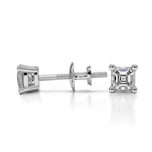 Asscher Diamond Stud Earrings in White Gold (1/4 ctw) | Image 03