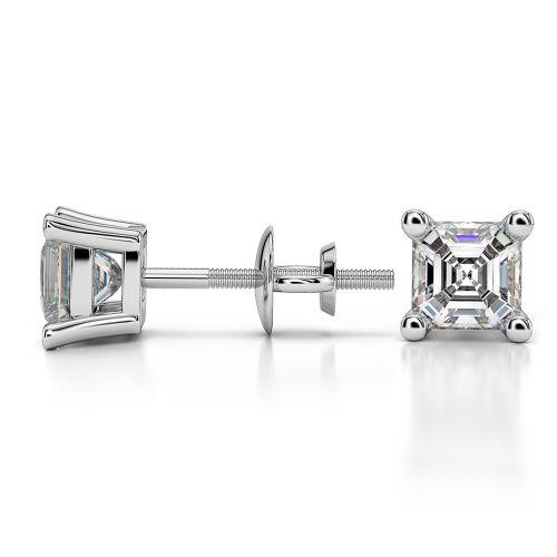 Asscher Diamond Stud Earrings in White Gold (1 ctw)   Image 03