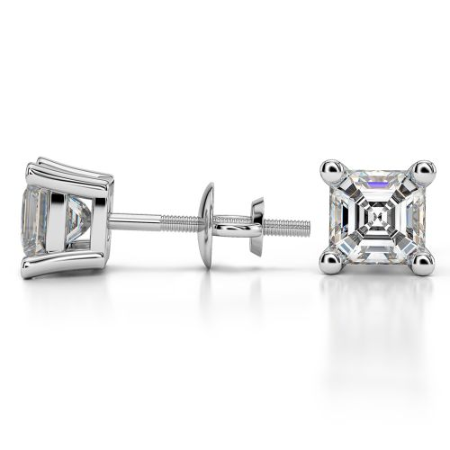Asscher Diamond Stud Earrings in White Gold (2 ctw) | Image 03