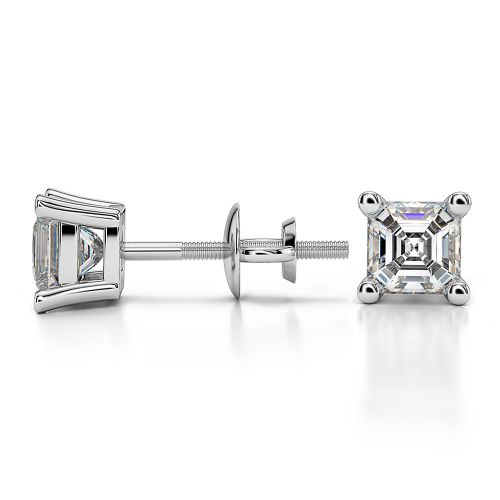 Asscher Diamond Stud Earrings in White Gold (3/4 ctw) | Image 03