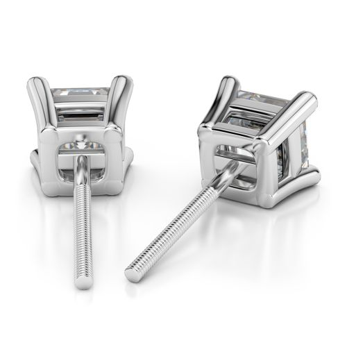 Asscher Diamond Stud Earrings in White Gold (3 ctw) | Image 02