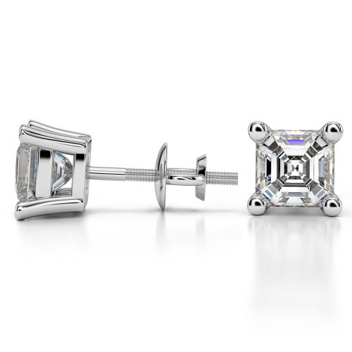 Asscher Diamond Stud Earrings in White Gold (3 ctw) | Image 03