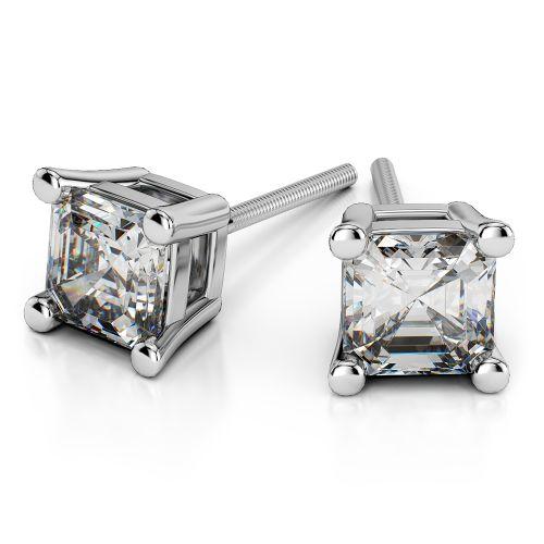 Asscher Diamond Stud Earrings in White Gold (4 ctw) | Image 01