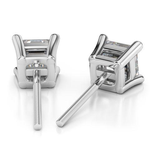 Asscher Diamond Stud Earrings in White Gold (4 ctw) | Image 02