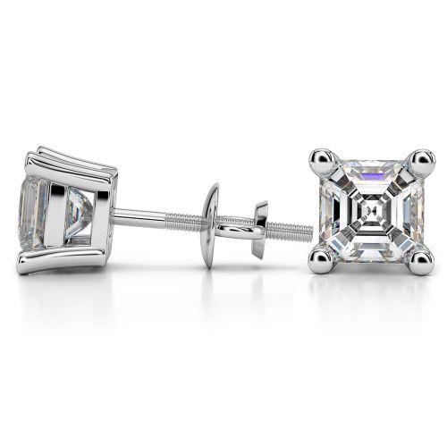 Asscher Diamond Stud Earrings in White Gold (4 ctw) | Image 03