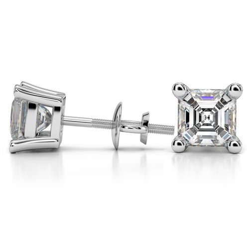 Asscher Diamond Stud Earrings in White Gold (4 ctw) | Image 03