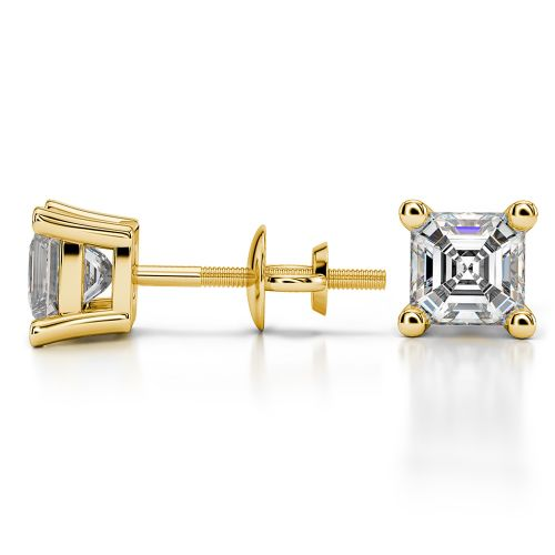 Asscher Diamond Stud Earrings in Yellow Gold (1 1/2 ctw) | Image 03