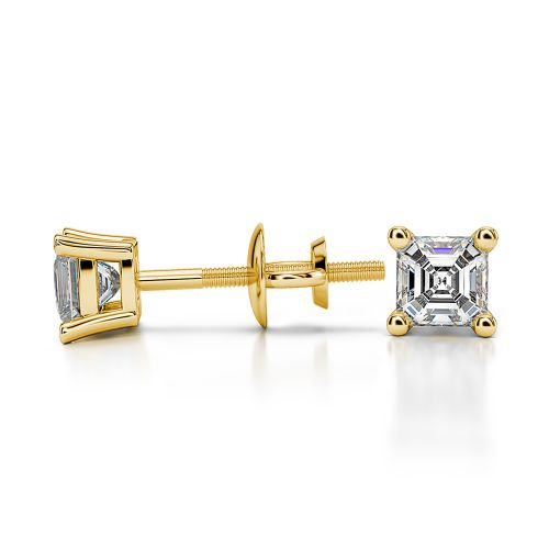 Asscher Diamond Stud Earrings in Yellow Gold (1/3 ctw) | Image 03