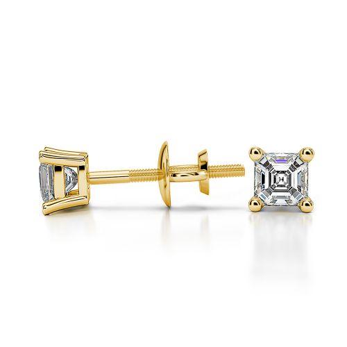 Asscher Diamond Stud Earrings in Yellow Gold (1/4 ctw) | Image 03