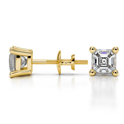 Asscher Diamond Stud Earrings in Yellow Gold (1 ctw) | Image 03