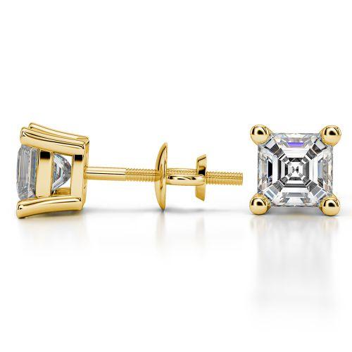 Asscher Diamond Stud Earrings in Yellow Gold (2 ctw) | Image 03