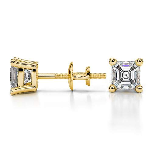Asscher Diamond Stud Earrings in Yellow Gold (3/4 ctw) | Image 03