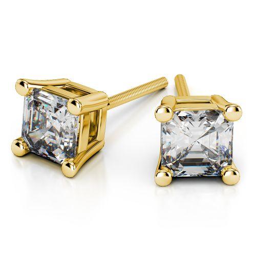 Asscher Diamond Stud Earrings in Yellow Gold (3 ctw) | Image 01