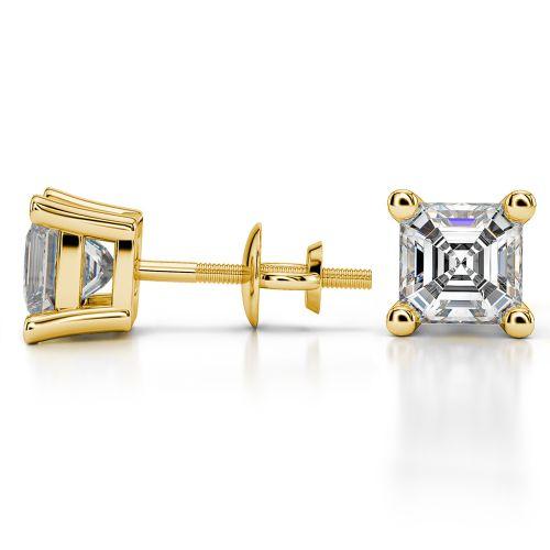 Asscher Diamond Stud Earrings in Yellow Gold (3 ctw) | Image 03