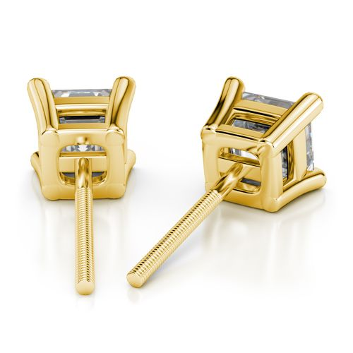 Asscher Diamond Stud Earrings in Yellow Gold (4 ctw) | Image 02