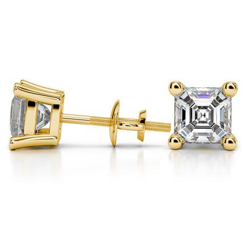Asscher Diamond Stud Earrings in Yellow Gold (4 ctw) | Image 03