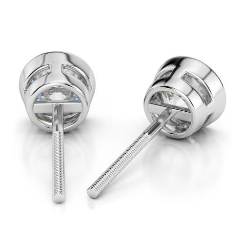 Bezel Diamond Stud Earrings in Platinum (1/3 ctw)   Image 02