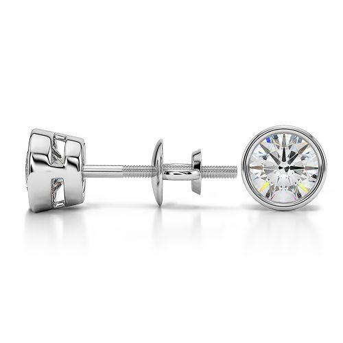 Bezel Diamond Stud Earrings in Platinum (1 ctw) | Image 03