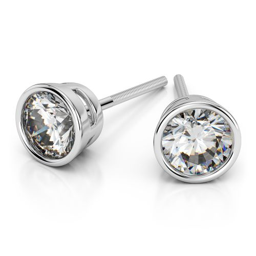 Bezel Diamond Stud Earrings in Platinum (3 ctw) | Image 01