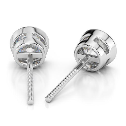 Bezel Diamond Stud Earrings in Platinum (3 ctw) | Image 02