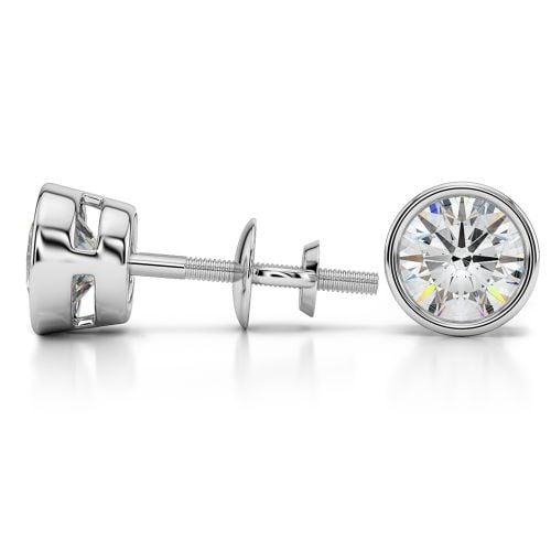 Bezel Diamond Stud Earrings in Platinum (3 ctw) | Image 03