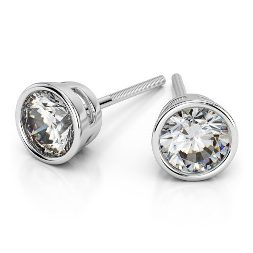 Bezel Diamond Stud Earrings in Platinum (4 ctw) | Image 01