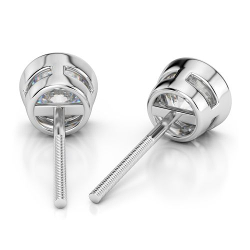 Bezel Diamond Stud Earrings in Platinum (4 ctw) | Image 02