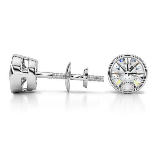 Bezel Diamond Stud Earrings in 14K White Gold (1 1/2 ctw)   Image 03