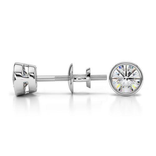 Bezel Diamond Stud Earrings in 14K White Gold (1/2 ctw) | Image 03