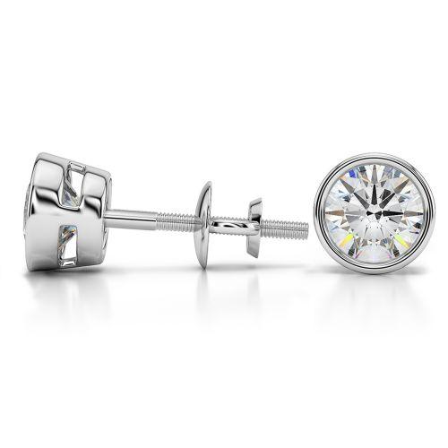 Bezel Diamond Stud Earrings in 14K White Gold (2 ctw) | Image 03