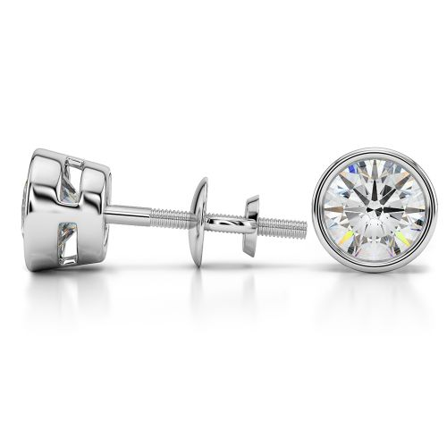 Bezel Diamond Stud Earrings in 14K White Gold (3 ctw) | Image 03