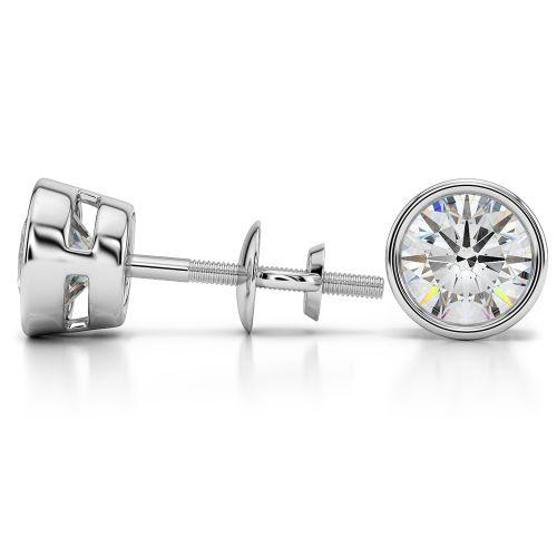 Bezel Diamond Stud Earrings in 14K White Gold (4 ctw) | Image 03