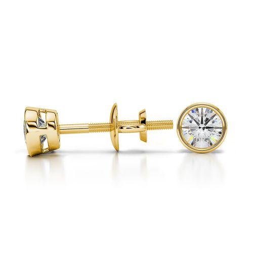 Bezel Diamond Stud Earrings in 14K Yellow Gold (1/3 ctw) | Image 03