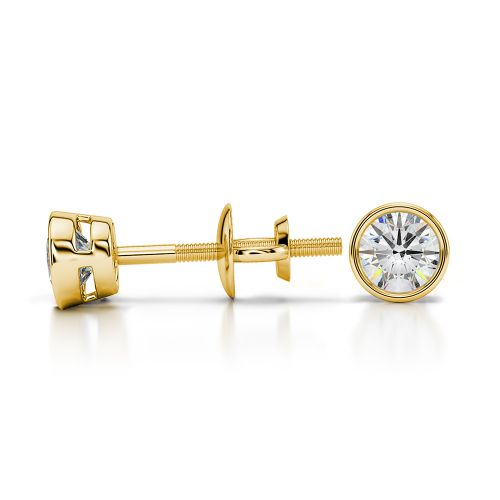Bezel Diamond Stud Earrings in 14K Yellow Gold (1/3 ctw) | Image 03