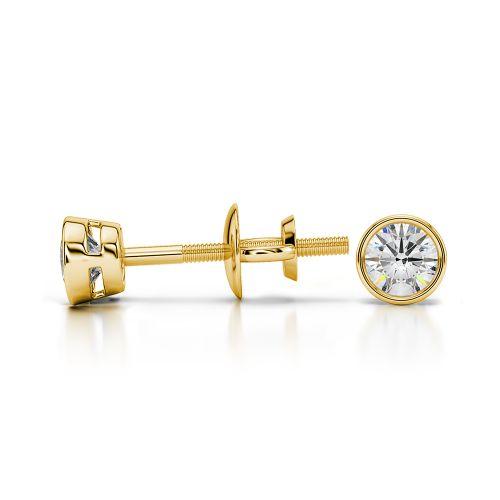 Bezel Diamond Stud Earrings in 14K Yellow Gold (1/4 ctw) | Image 03