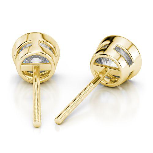 Bezel Diamond Stud Earrings in Yellow Gold (1 ctw) | Image 02