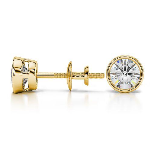 Bezel Diamond Stud Earrings in Yellow Gold (1 ctw) | Image 03
