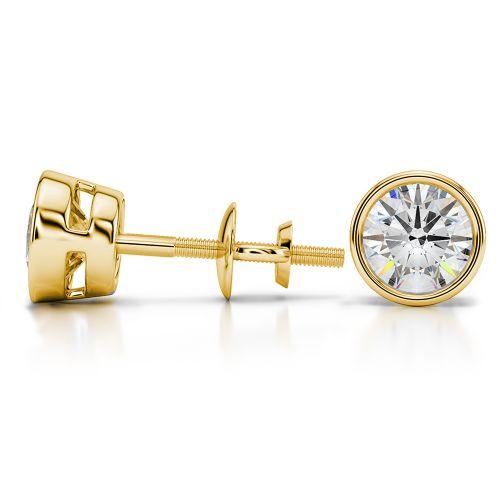 Bezel Diamond Stud Earrings in 14K Yellow Gold (2 ctw) | Image 03
