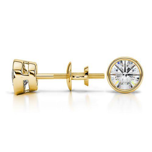 Bezel Diamond Stud Earrings in Yellow Gold (3/4 ctw)   Image 03