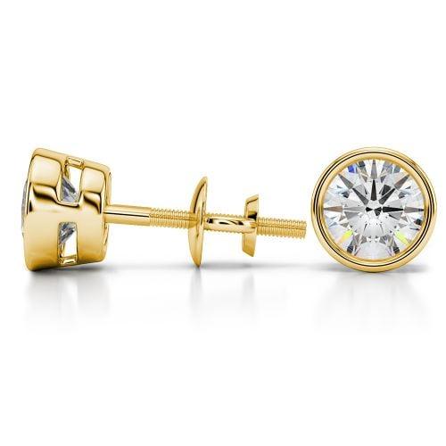 Bezel Diamond Stud Earrings in 14K Yellow Gold (3 ctw) | Image 03