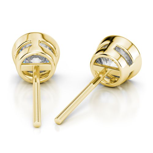 Bezel Diamond Stud Earrings in 14K Yellow Gold (4 ctw) | Image 02