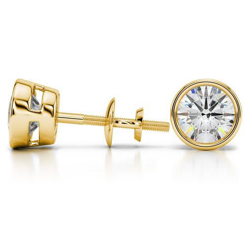Bezel Diamond Stud Earrings in 14K Yellow Gold (4 ctw) | Image 03