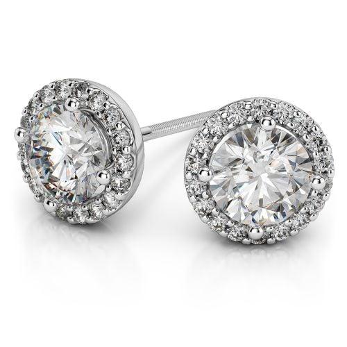 Halo Diamond Earrings in Platinum (1 1/2 ctw) | Image 01