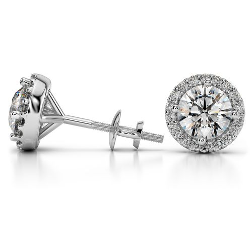 Halo Diamond Earrings in Platinum (1 1/2 ctw) | Image 03