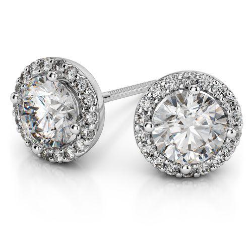Halo Diamond Earrings in Platinum (1/2 ctw) | Image 01